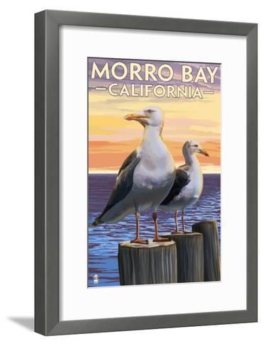 Morro Bay, CA - Sea Gulls-Lantern Press-Framed Art Print