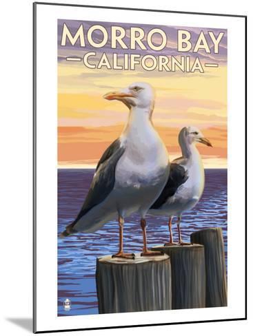 Morro Bay, CA - Sea Gulls-Lantern Press-Mounted Art Print