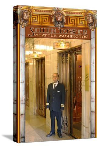 Smith Tower - Seattle, Washington - Elevator Operator-Lantern Press-Stretched Canvas Print