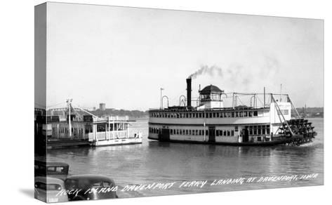 Davenport, Iowa - Rock Island-Davenport Ferry Landing-Lantern Press-Stretched Canvas Print