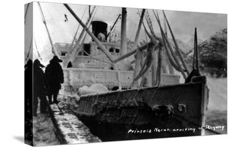 Skagway, Alaska - Princess Norah Ship Arriving-Lantern Press-Stretched Canvas Print