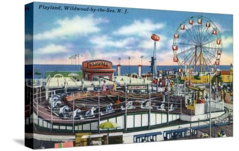 Wildwood-by-the-Sea, New Jersey - View of Playland Amusement Park-Lantern Press-Stretched Canvas Print