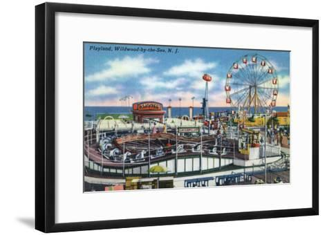 Wildwood-by-the-Sea, New Jersey - View of Playland Amusement Park-Lantern Press-Framed Art Print