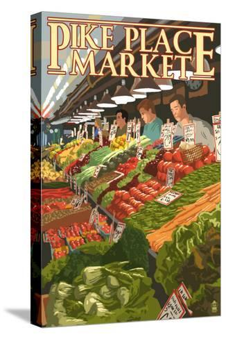 Pike Place Market Produce - Seattle, WA-Lantern Press-Stretched Canvas Print