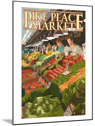 Pike Place Market Produce - Seattle, WA-Lantern Press-Mounted Art Print