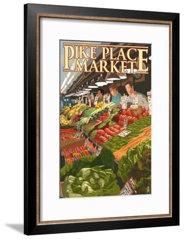 Pike Place Market Produce - Seattle, WA-Lantern Press-Framed Art Print