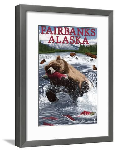Grizzly Fishing Salmon - Fairbanks, AK-Lantern Press-Framed Art Print