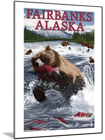 Grizzly Fishing Salmon - Fairbanks, AK-Lantern Press-Mounted Art Print