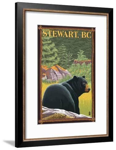 Stewart, BC - Bear in Forest-Lantern Press-Framed Art Print