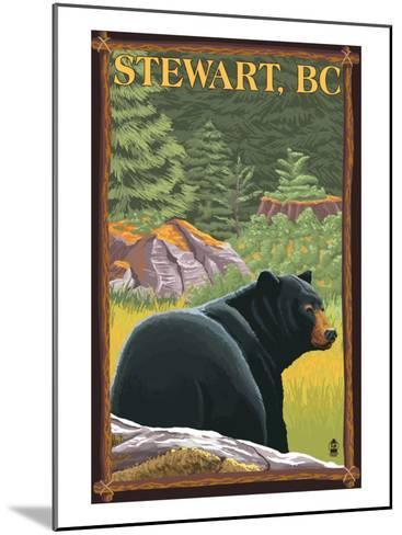 Stewart, BC - Bear in Forest-Lantern Press-Mounted Art Print
