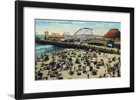 Ocean Park, California - View of Lick's Dome Pier-Lantern Press-Framed Art Print