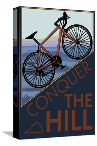 Conquer the Hill - Mountain Bike-Lantern Press-Stretched Canvas Print