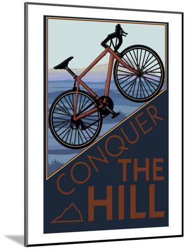 Conquer the Hill - Mountain Bike-Lantern Press-Mounted Art Print