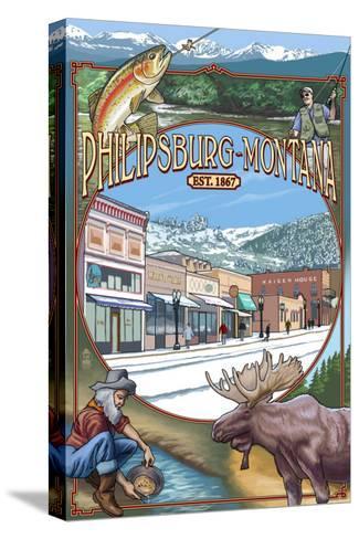 Philipsburg, Montana Montage-Lantern Press-Stretched Canvas Print