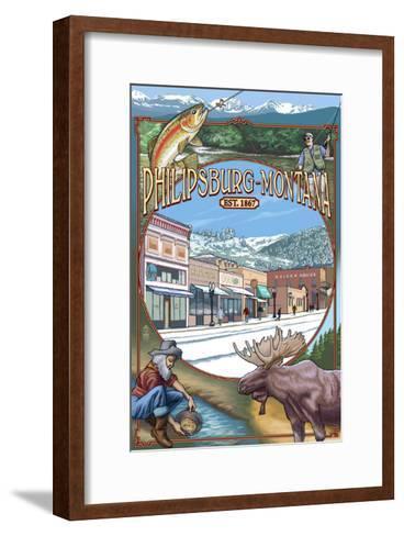 Philipsburg, Montana Montage-Lantern Press-Framed Art Print