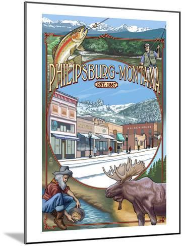 Philipsburg, Montana Montage-Lantern Press-Mounted Art Print