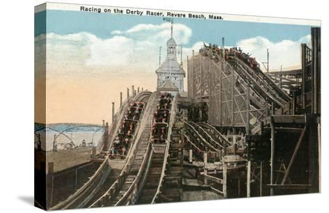 Revere Beach, Massachusetts - View of Derby Racer-Lantern Press-Stretched Canvas Print
