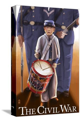 Americam Civil War - Drummer Boy-Lantern Press-Stretched Canvas Print