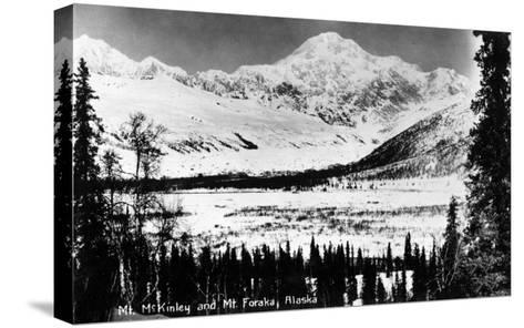 Alaska - Mt McKinley and Mt Foraka-Lantern Press-Stretched Canvas Print