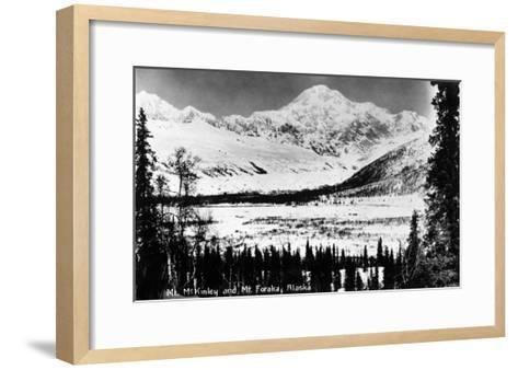 Alaska - Mt McKinley and Mt Foraka-Lantern Press-Framed Art Print