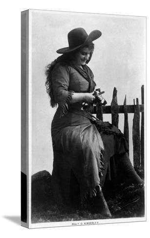 Cowgirl Portrait - Miss F G Kimberley Cutting an Apple-Lantern Press-Stretched Canvas Print