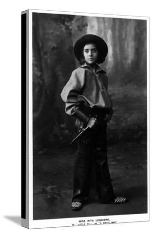 Cowgirl Portrait - Miss Rita Leggiero Holding a Knife-Lantern Press-Stretched Canvas Print