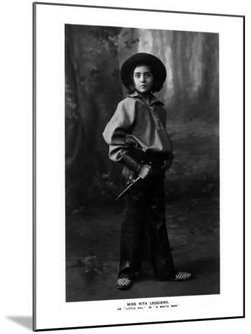Cowgirl Portrait - Miss Rita Leggiero Holding a Knife-Lantern Press-Mounted Art Print