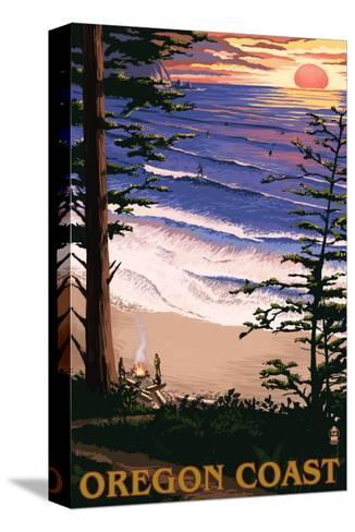 Oregon Coast Sunset Surfers-Lantern Press-Stretched Canvas Print