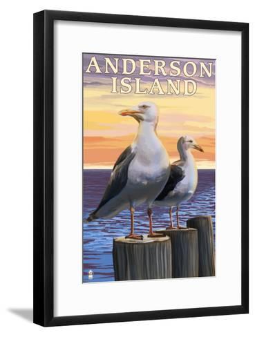 Anderson Island, WA Sea Gulls-Lantern Press-Framed Art Print