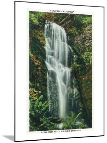 Big Basin, California - Berry Creek Falls Scene-Lantern Press-Mounted Art Print