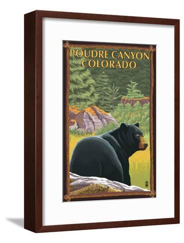 Poudre Canyon, Colorado - Bear in Forest-Lantern Press-Framed Art Print