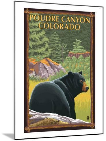 Poudre Canyon, Colorado - Bear in Forest-Lantern Press-Mounted Art Print