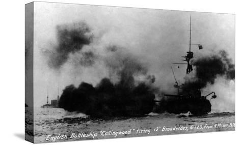 North Moser, New York - View of British Battleship Collingwood Shooting-Lantern Press-Stretched Canvas Print