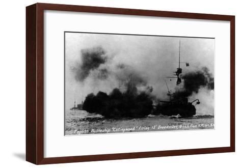 North Moser, New York - View of British Battleship Collingwood Shooting-Lantern Press-Framed Art Print