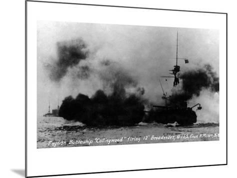 North Moser, New York - View of British Battleship Collingwood Shooting-Lantern Press-Mounted Art Print