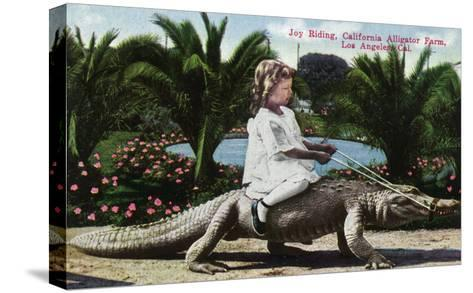 Los Angeles, California - Girl Riding Alligator at the Farm-Lantern Press-Stretched Canvas Print