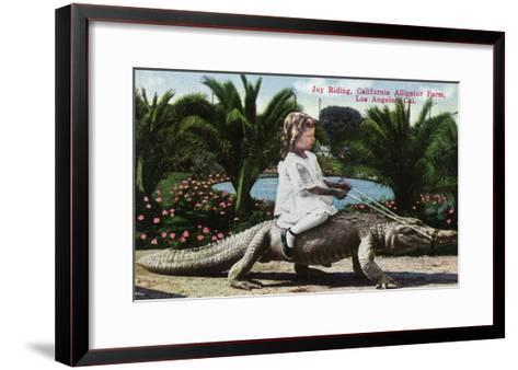 Los Angeles, California - Girl Riding Alligator at the Farm-Lantern Press-Framed Art Print