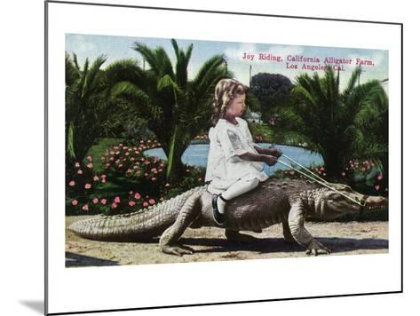 Los Angeles, California - Girl Riding Alligator at the Farm-Lantern Press-Mounted Art Print