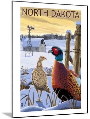 Pheasants - North Dakota-Lantern Press-Mounted Art Print