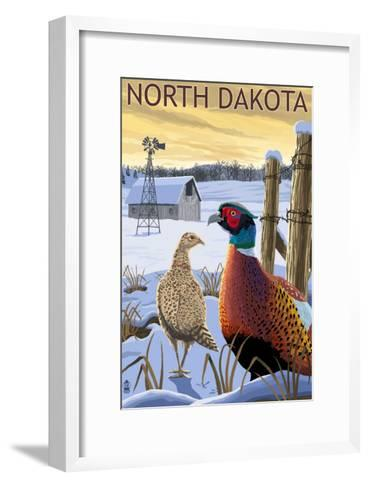 Pheasants - North Dakota-Lantern Press-Framed Art Print