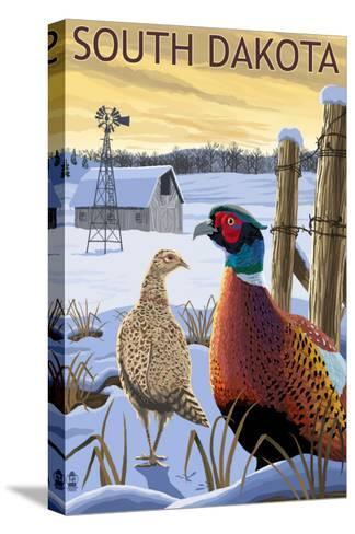 Pheasants - South Dakota-Lantern Press-Stretched Canvas Print