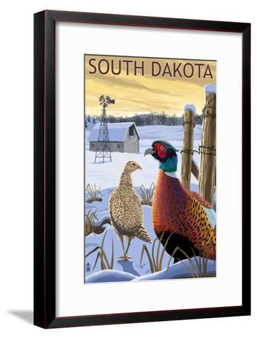 Pheasants - South Dakota-Lantern Press-Framed Art Print