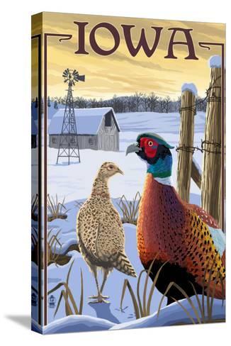 Pheasants - Iowa-Lantern Press-Stretched Canvas Print