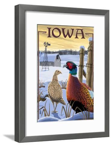 Pheasants - Iowa-Lantern Press-Framed Art Print