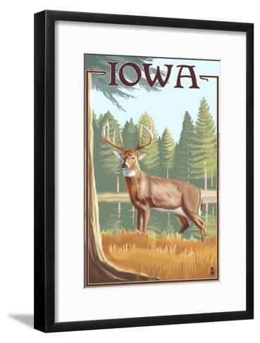 White Tailed Deer - Iowa-Lantern Press-Framed Art Print