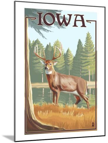 White Tailed Deer - Iowa-Lantern Press-Mounted Art Print