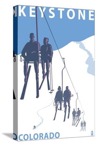 Keystone, Colorado Ski Lift-Lantern Press-Stretched Canvas Print