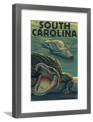 South Carolina - Alligators-Lantern Press-Framed Art Print
