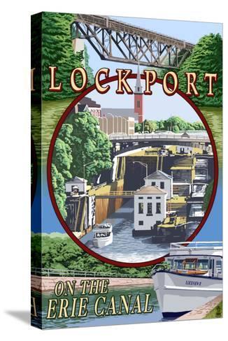 Lockport, New York - Montage Poster-Lantern Press-Stretched Canvas Print