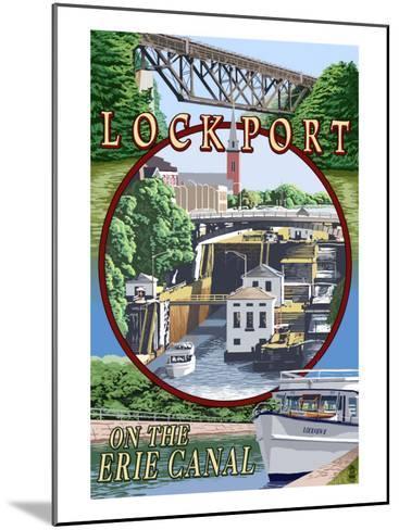 Lockport, New York - Montage Poster-Lantern Press-Mounted Art Print